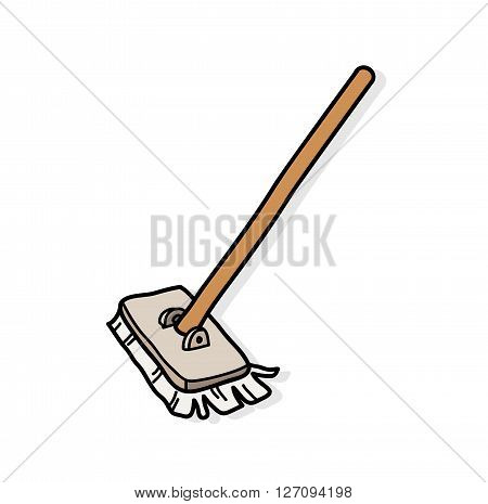 Mop, a hand drawn vector illustration of a mop with shadow backdrop.