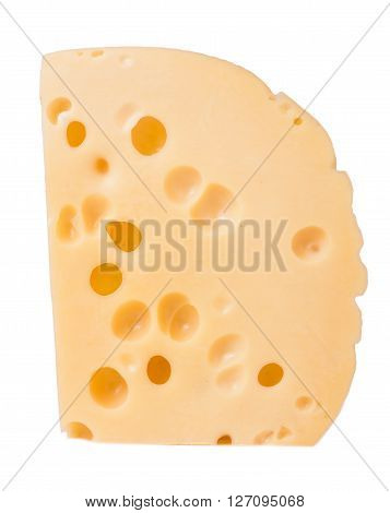 piece of cheese with big holes isolated on white background.