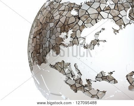 Europe On Translucent Earth