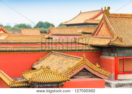 Traditional roofs in Beijing's Forbidden City China