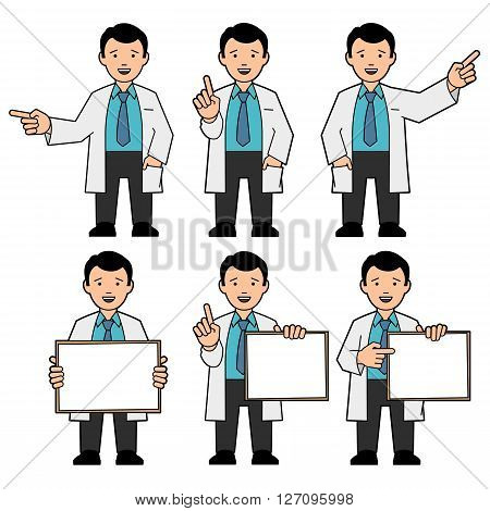 The character of men. A man in a tie and a white lab coat. Different poses. The man points hand. A man holds a placard. Man draws attention raising thumb up. Vector illustration