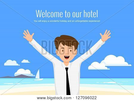 Male manager of the hotel welcomes its guests. The hotel manager on a background seascape.