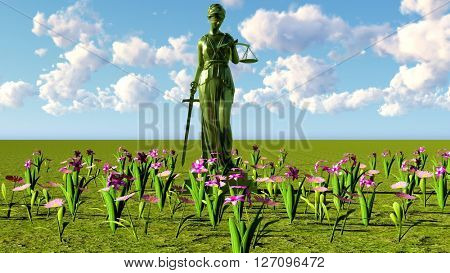 Lady of justice & flowers