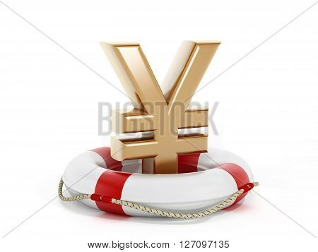 3D rendering of gold yen symbol inside life buoy isolated on white background.