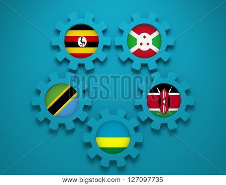 East African Community EAC association of five national economies members flags on gear. Global teamwork. 3D rendering Blue background