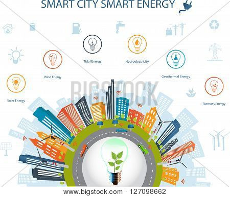 Smart city concept and Smart energy with different environmental icons.Smart city concept/ Smart energy