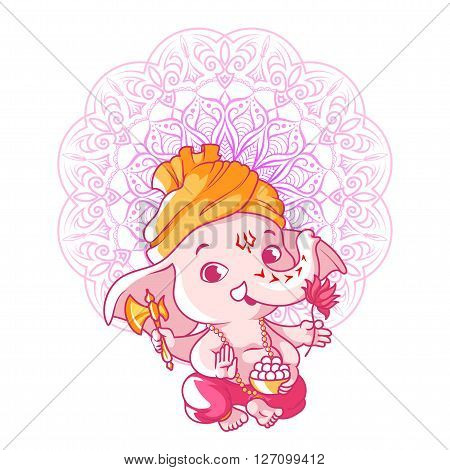 Little cute Ganesha. Cartoon character. Vector cartoon illustration on a white background.