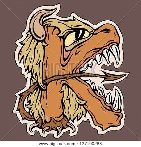 stylized  letter  K  isolated monster crazy  mutant vector illustration