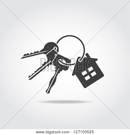 Black icon. Trinket with three keys and small house badge.