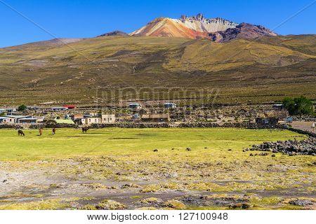 Dormant volcano at Coqueza Village in Solar De Uyuni Bolivia