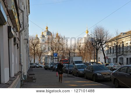 Russia, Yaroslavl-March 29.2016.  View of the Kazan female monastery with Andropov Street