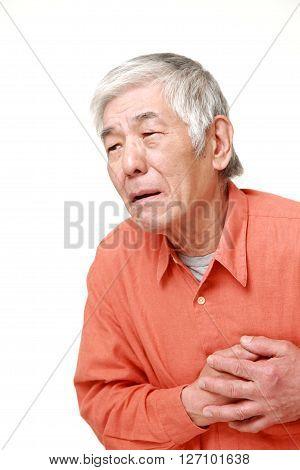 portrait of senior Japanese man heart attack on white background