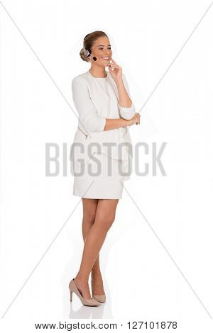 Young smile businesswoman with headphones