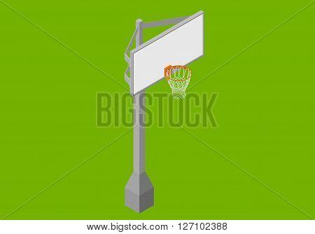 Basketball backboard isometric flat vector 3d illustration.