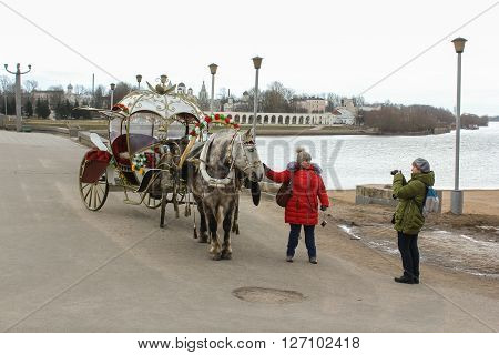 Veliky Novgorod, Russia - 12 March, Photo of a horse with the carriage, 12 March, 2016. Domestic horses live and work in urban areas.