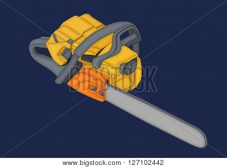 Handle chainsaw isometric flat vector 3d illustration