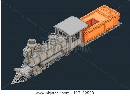 retro locomotive with wagon isometric flat vector 3d illustration