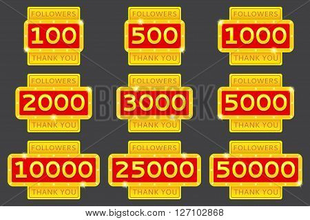 Set of thanks for followers in network. Thank you followers. Collection of retro Thank you badges with glowing lamps. Followers labels isolated on grey background.