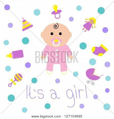 Baby girl shower card Bottle horse rattle pacifier sock doll baby carriage pyramid toy. Its a girl. White background with circle dot. Isolated. Flat design Vector illustration