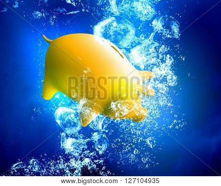 Piggy bank under water