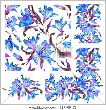 Set with seamless pattern, frieze, corner and other elements. Blue watercolor lilies. Watercolor flowers. Spring and summer motifs. Can be used for any your design.
