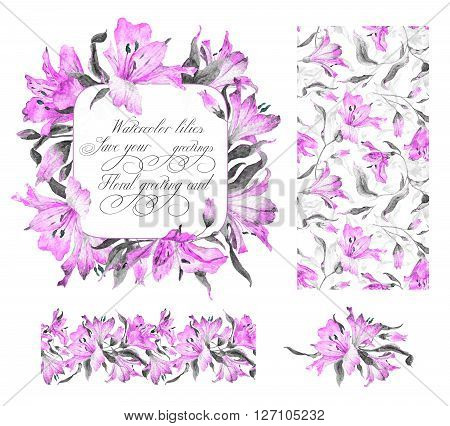 Set with frame, seamless pattern, frieze and other elements. Pink watercolor lilies. Watercolor flowers. Spring and summer motifs. Can be used for any your design.