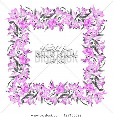 Frame with pink watercolor lilies. Frame can be used as greeting card template for invitation card and so on.