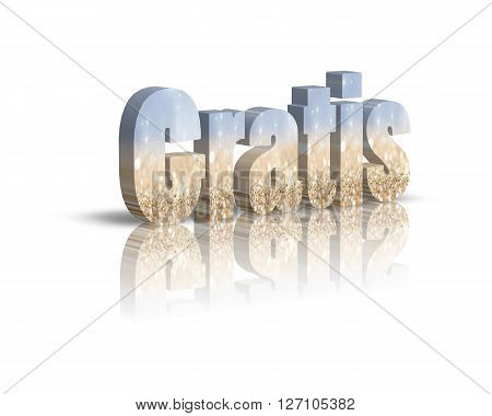 Gratis - 3d word with reflection !