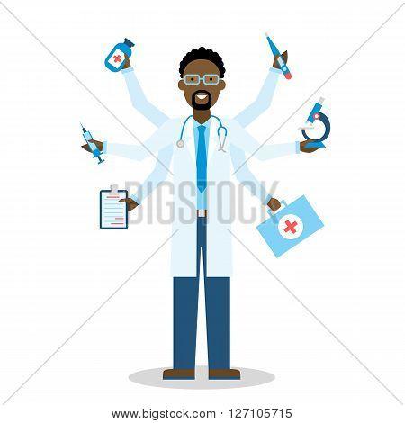 African American Multitasking Medical Doctor on white multitasking concept.