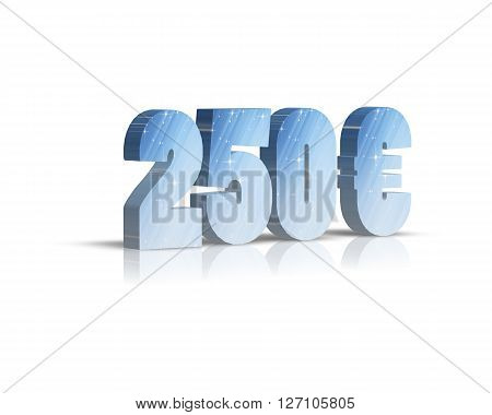 250 Euro - 3d word with reflection !