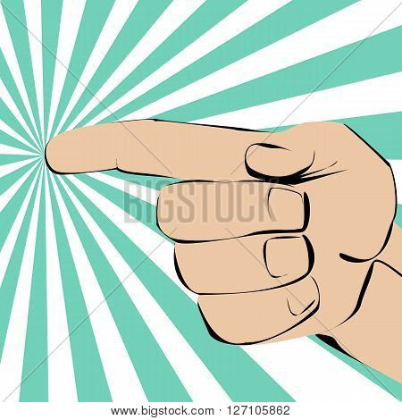 Index finger pointing hand on the left on radiate background.