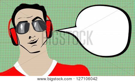 Pop art brunette man in headphones with speech bubble.