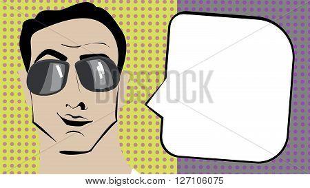 Pop art brunette man in sunglasses with speech bubble.