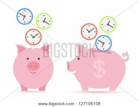 Pink piggy bank with falling clock faces. time is money concept