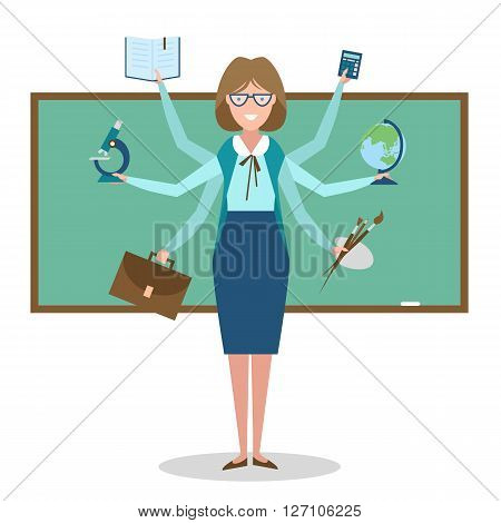 Multitasking skillful teacher on white background.  concept.