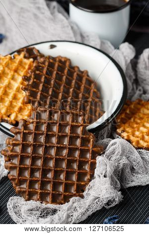 Round Belgian Waffles With Chocolate Icing