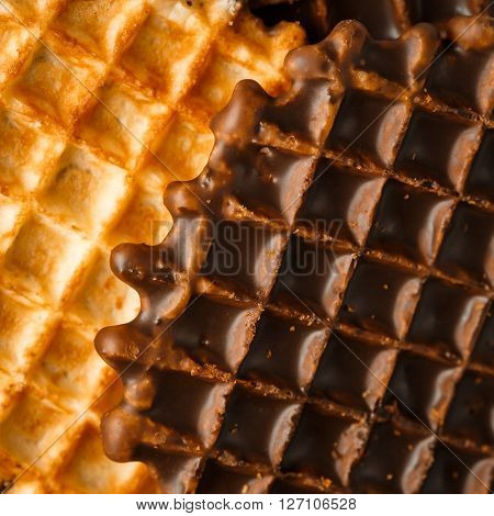 Round Belgian Waffles With Chocolate