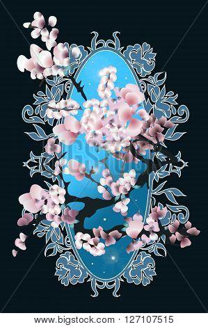 Card with blossom sakura. Vector illustration for design. Elegant silhouette style