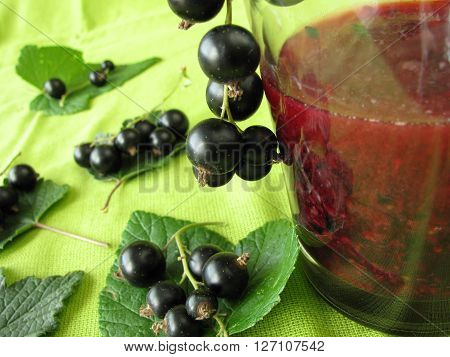 Smoothie from black currants and fresh fruits