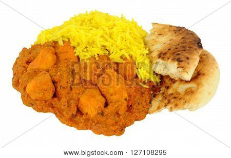 Spicy chicken Tikka Masala curry with yellow pilau rice and naan bread isolated on a white background