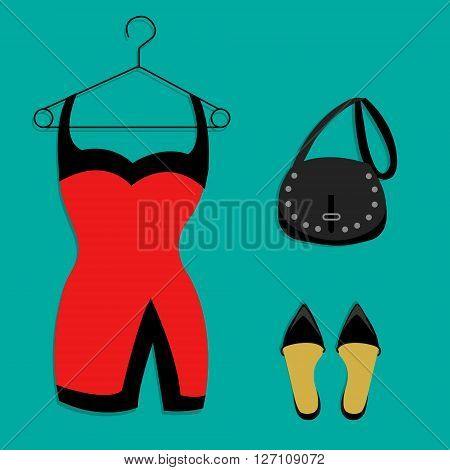 party outfit shoes dress and bag illustration