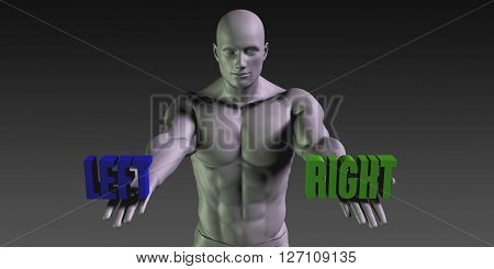 Left vs Right Concept of Choosing Between the Two Choices 3D Illustration Render