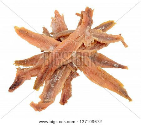Salty anchovy fish fillets isolated on a white background