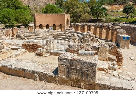 Roman Odeon in ancient site of Gortyna. Crete Greece