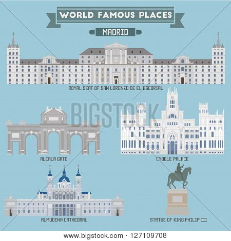 World Famous Place. Spain. Madrid. Geometric icons of buildings