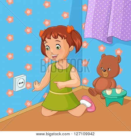 Little girl touching socket. Cartoon style vector illustration.