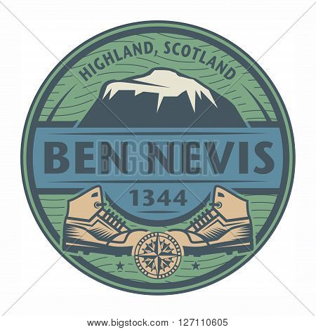 Stamp or emblem with text Ben Nevis Scotland, vector illustration