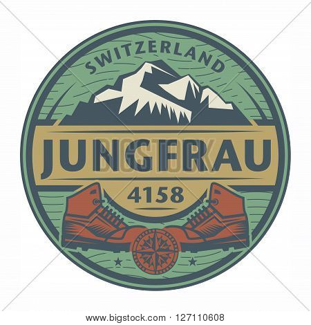 Stamp or emblem with text Jungfrau Switzerland, vector illustration