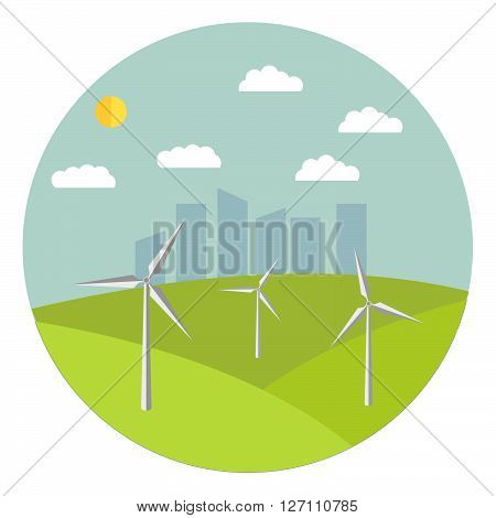 Flat  illustration with solar wind generators in the afternoon