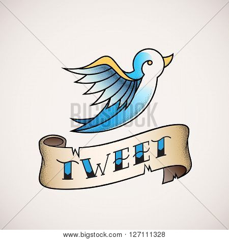 Retro Tattoo Dot Work Style Abstract Vector Bird Icon with Tweet Banner. Blue on Beige Background.